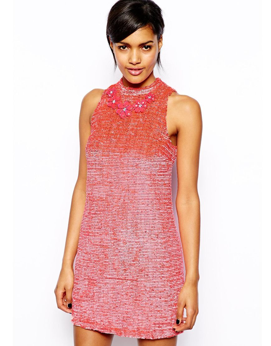 River Island Boucle Shift Dress With Necklace
