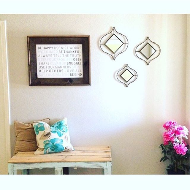 I am in love with how Jessica from @fashion_crush_co styled our family rules sign with @kirklands mirrors and even more exciting is this picture is featured on @kirklands page! ❤️❤️❤️ we also sell a handful of handmade wood items of @fashion_crush_co in our shop so stop by Tuesday or Thursday from 10-2 to check them out 👍🏼