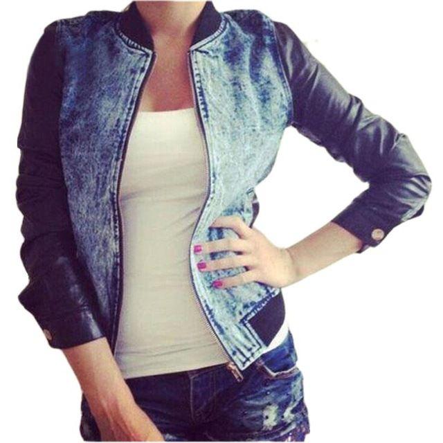 Mujeres moda Denim Chaquetas para Mujer ocasionales de la PU Patchwork de  cuero Chaquetas básicas Sexy Slim Jeans Denim Jacket Coat Chaquetas Mujer 71bd519d8cfd