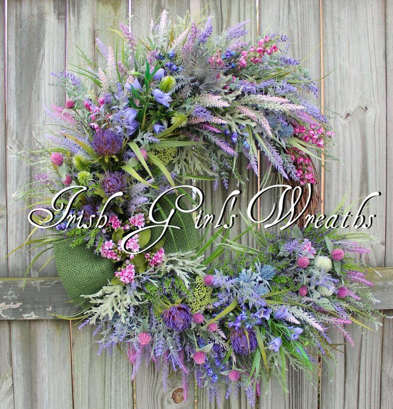 Scottish Thistle & Heather lavender Coastal Wreath, MADE