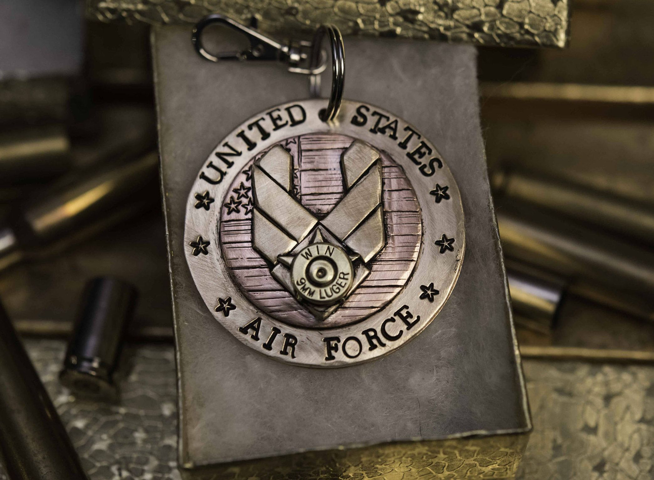Personalized AIR FORCE keychain, armed service remembrance