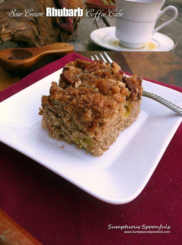 Sour Cream Rhubarb Coffee Cake Sumptuous Spoonfuls Recipe Rhubarb Coffee Cakes Coffee Cake Rhubarb Recipes
