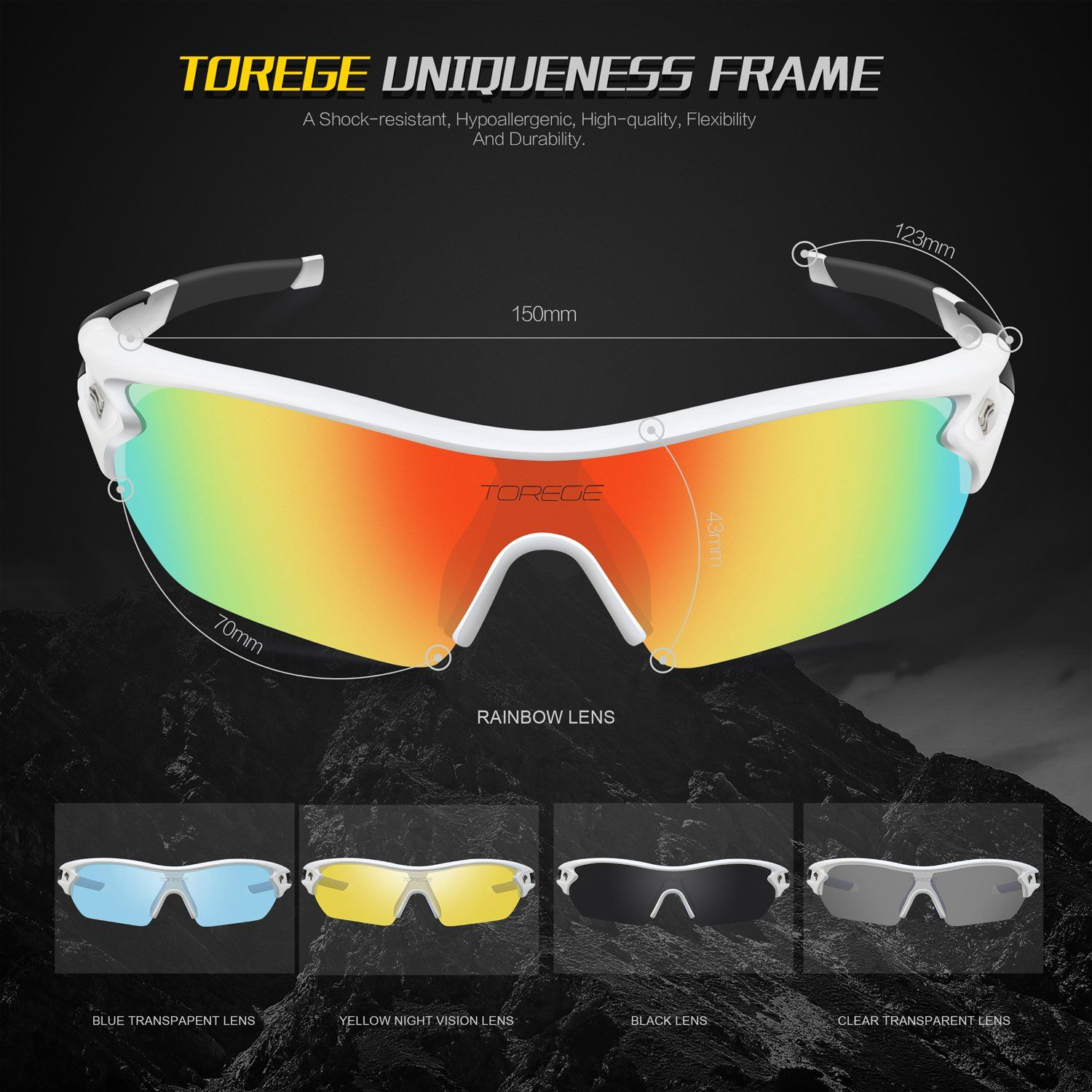 67560f2a4dc Golf Gifts    TOREGE Polarized Sports Sunglasses With 5 Interchangeable  Lenes for Men Women Cycling Running Driving Fishing Golf Baseball Glasses  TR002 ...