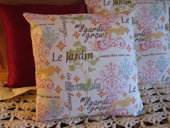 Pillow Cover of Scripted Linen in Pink, Teal, Sage, Brown, Peach and Cream. Love these colors for Ella's big girl bedroom!