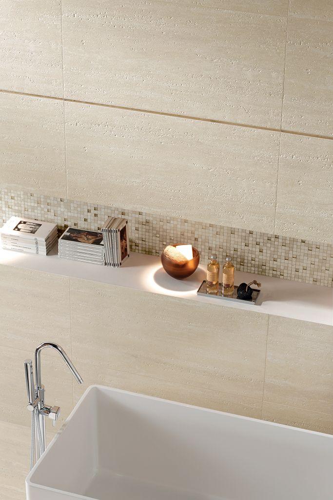 Travertino romano scanalato coem ceramiche e piastrelle in gres porcellanato per pavimenti - Piastrelle bagno gres porcellanato ...