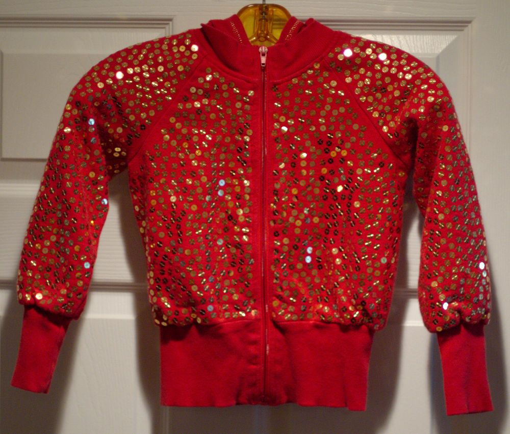 MARY-KATE & ASHLEY Hoodie Jacket  Covered with Gold Sequins Size 6/6x #MaryKateAshley #Everyday