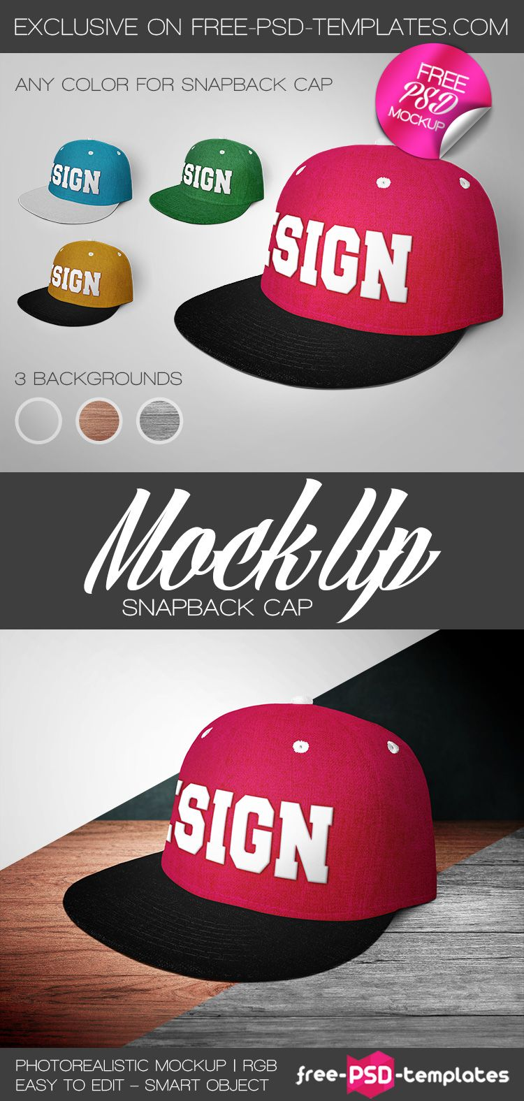Free Snapback Cap Mock-up PSD (58.4 MB)   Free PSD Templates ...
