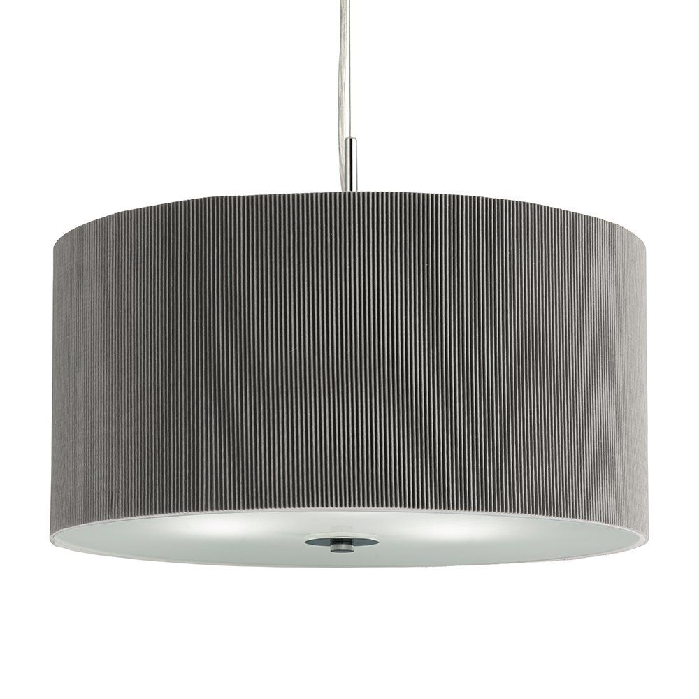 Searchlight 2353 40SI Drum Pleat 3 Light Ceiling Pendant Silver