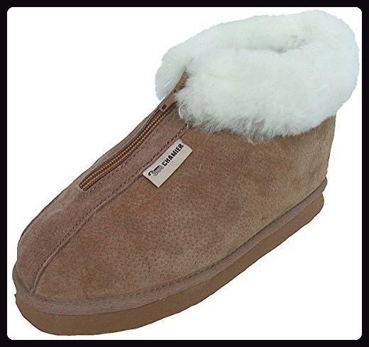 premium selection fd190 1e594 warme Damen Lammfell Hausschuhe camel, Fell Boots mit ...