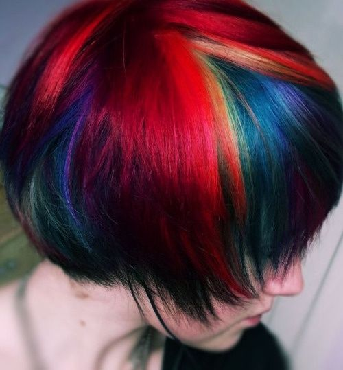 dark jewel tone rainbow hair short | Awesome Hairstyles