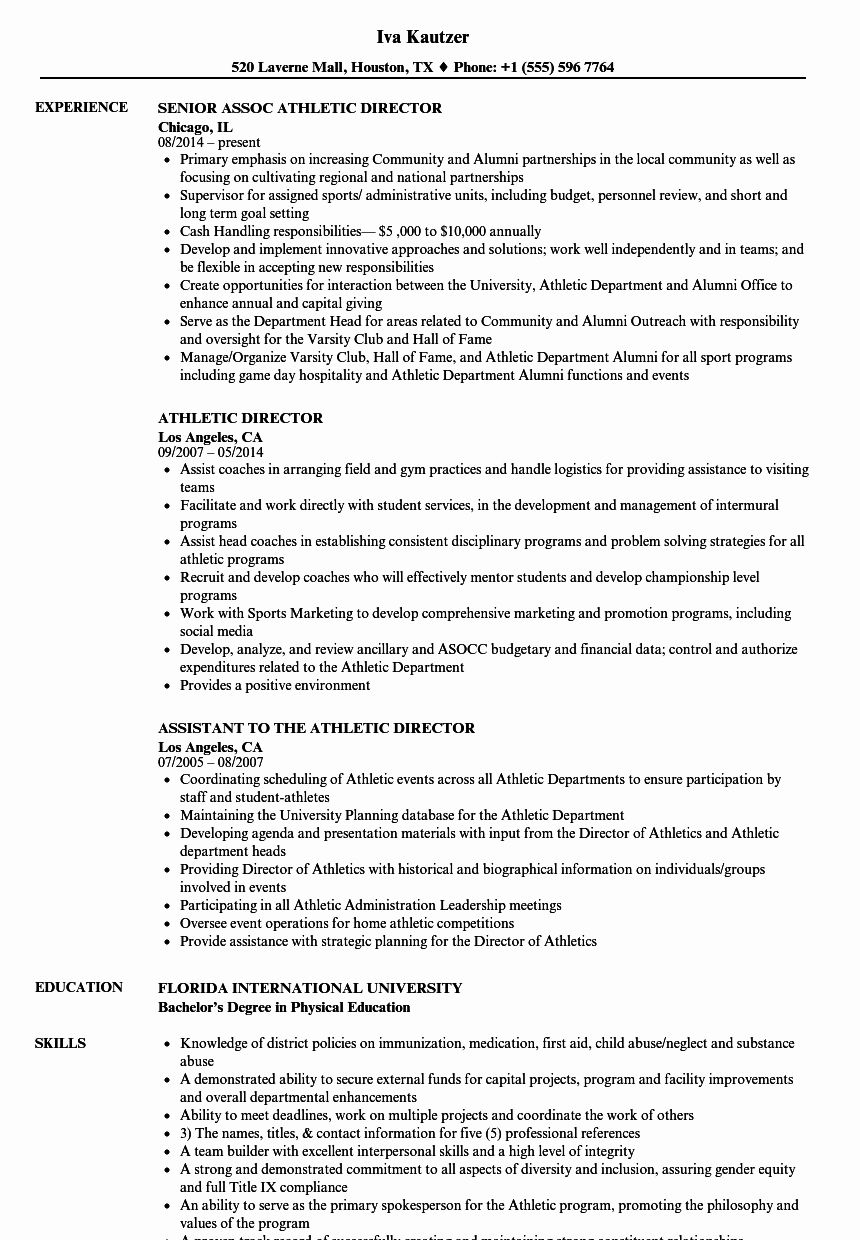 Student athlete Resume Example Fresh athletic Director