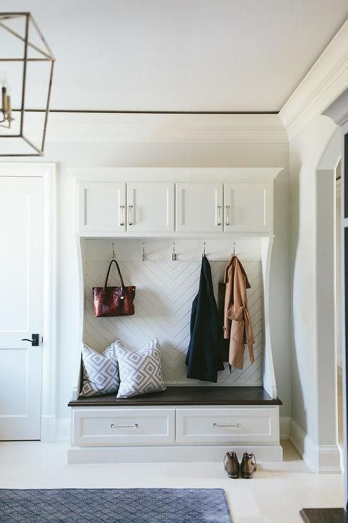 Mudroom Bench With Herringbone Back Laundry Rooms Amp Mudrooms Pinterest Entry Ways Mudroom Cabinets And Cabinets