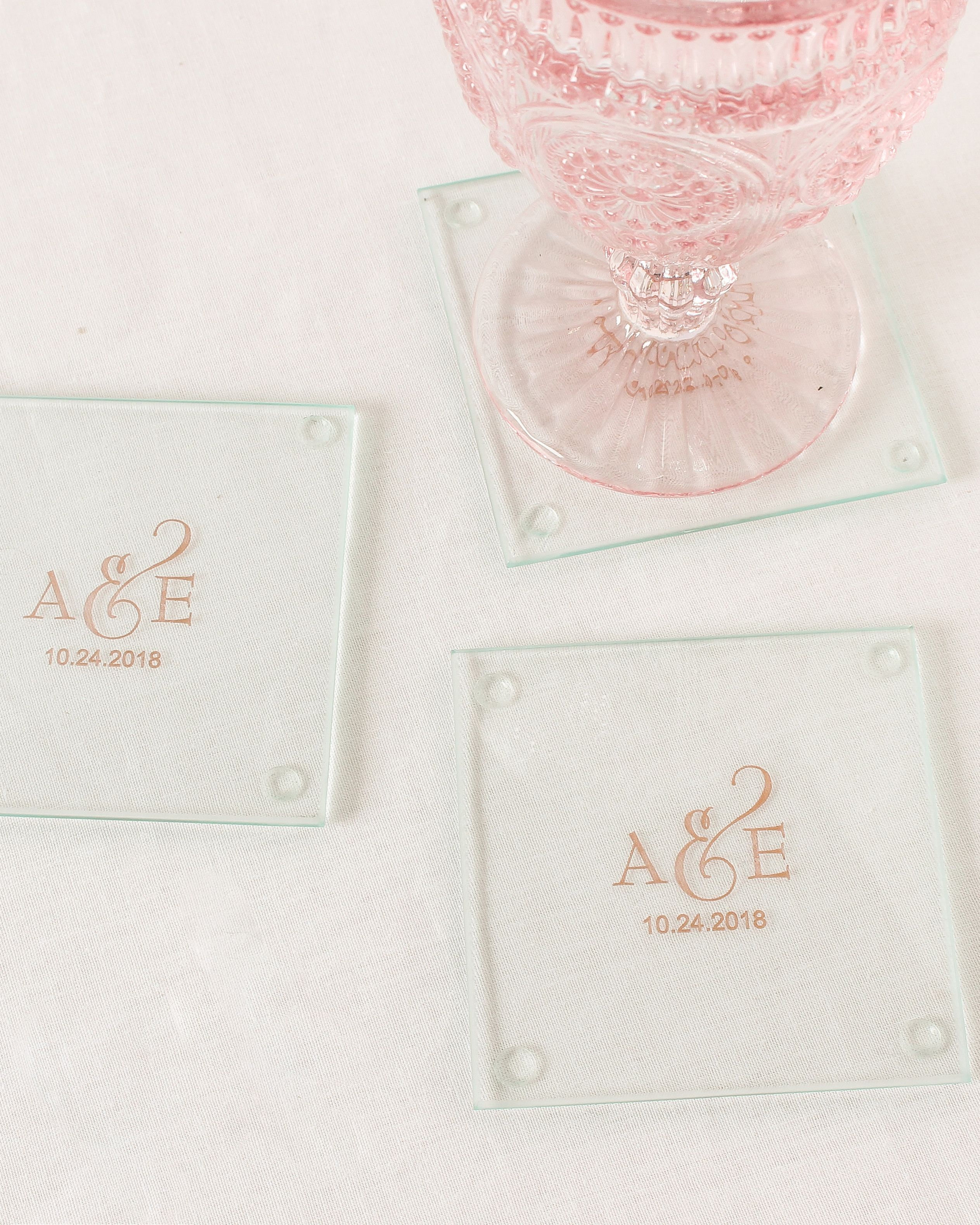 Make Your Wedding An Affair To Remember With These Personalized Gl Coasters Multifunctional