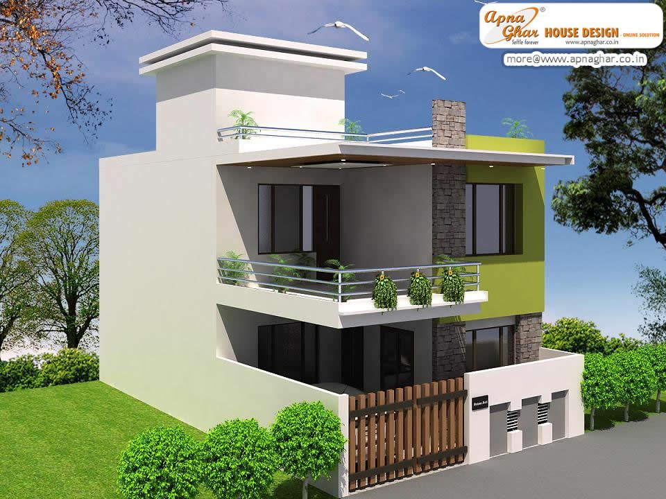 Beautiful duplex 2 floors house design area 920m2 for Simple house front design