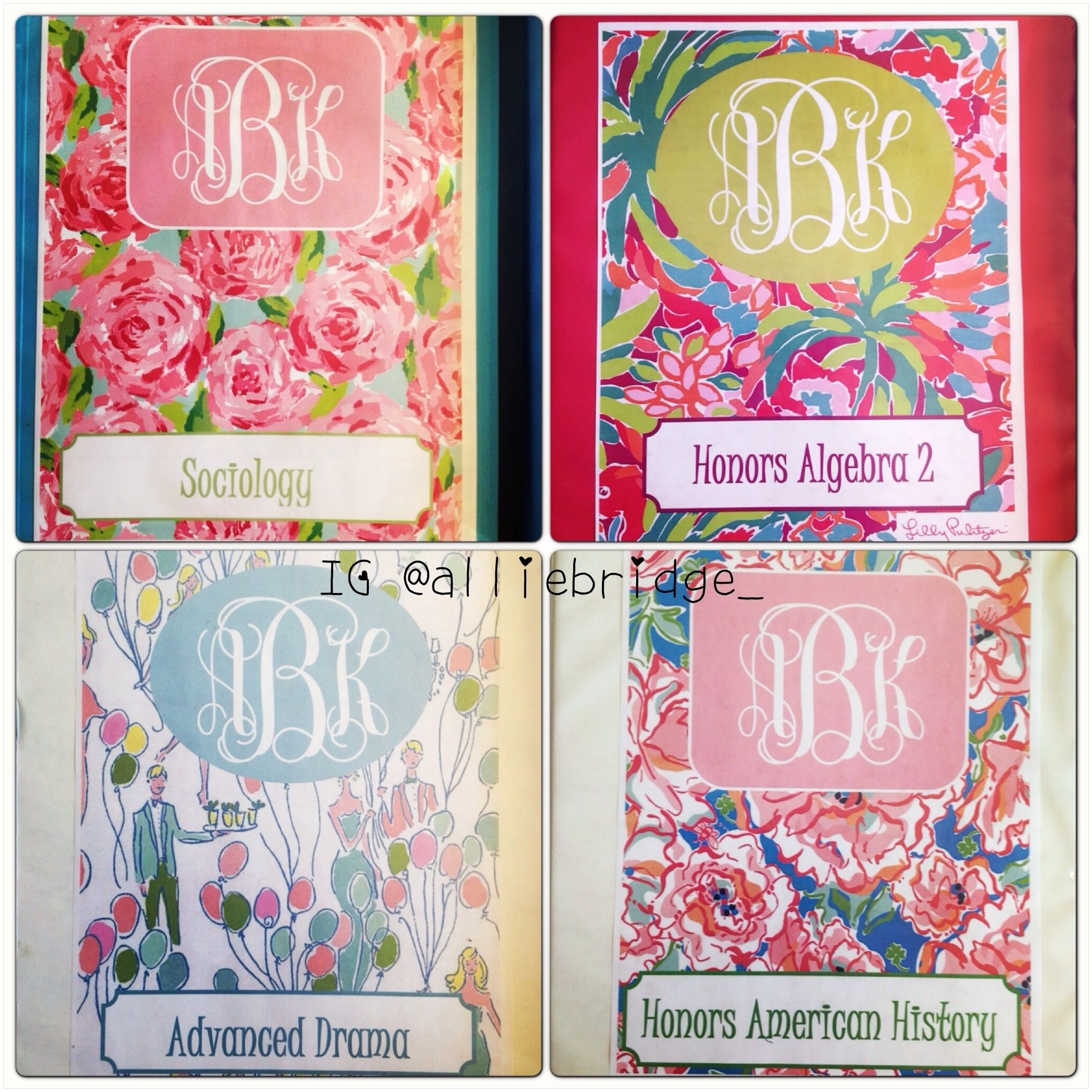 Binder Covers I Made. Lilly Pulitzer + Monogram