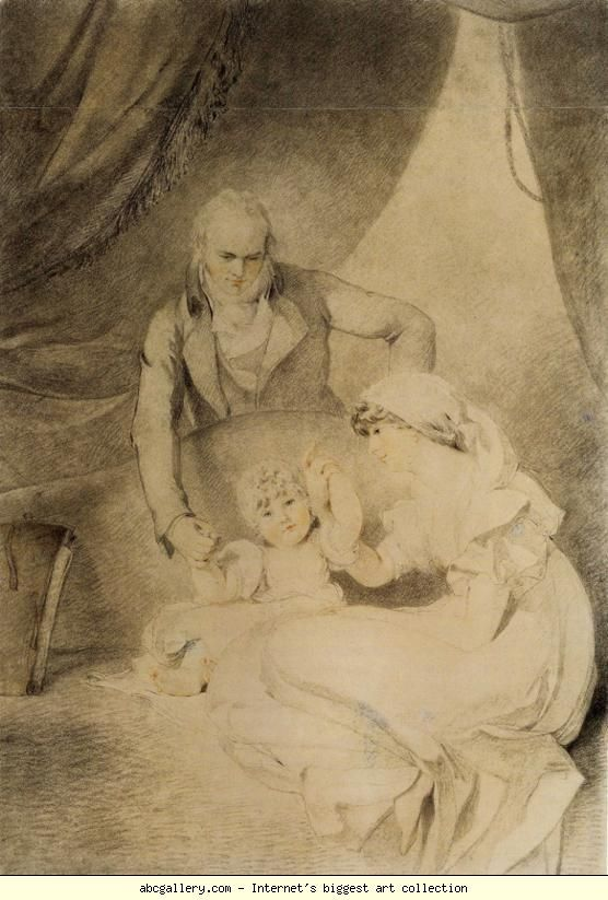 Sir Thomas Lawrence. Mr and Mrs John Allnutt with Their Daughter Anna. Chalk on paper. 50.5 x 35.5 cm. Stanford University Museum and Art Gallery, Stanford, CA, USA