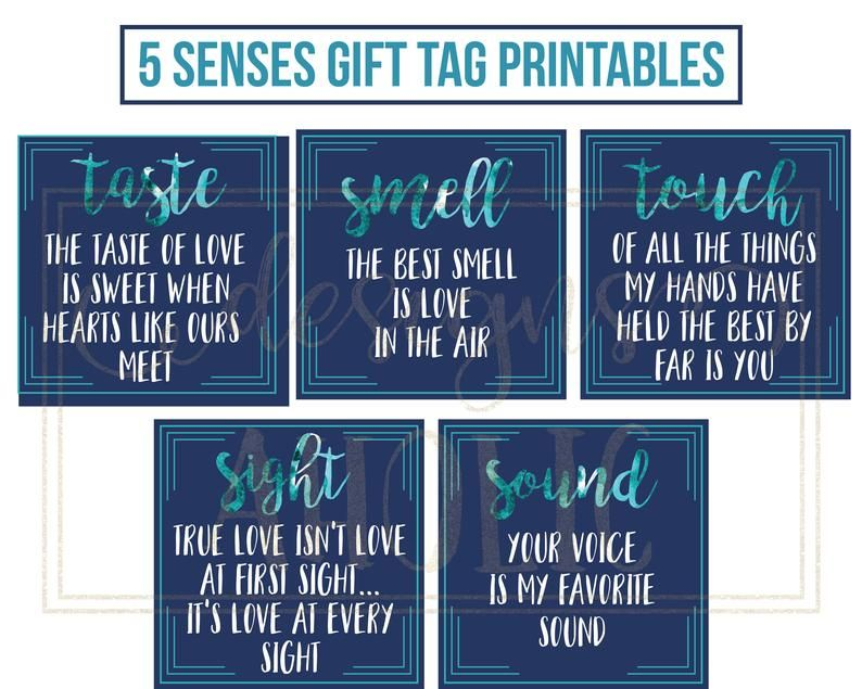 5 Senses Gift Tags, Cards & Ideas - Gift for Boyfriend, Girlfriend, Husband or Wife - Valentine's Gift - Birthday Gift - Anniversary Gift