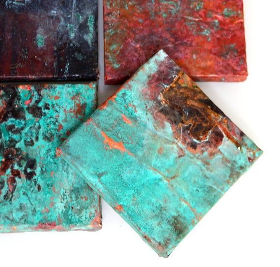 Aged Copper Wall Tile, Rustic cottage flooring, Textured Metal, Aged Verdigris Copper, Copper sheet metal craft Antique old Tin Tile,Real Copper Accent Tiles, Kitchen Back splash Blue Aged patina, artisan tin ceiling tile, rustic bathroom shower, green copper roof shingles This listing price is for