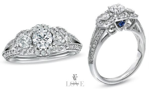 Subtle Sapphire And Diamond Vera Wang Engagement Ring Vera Wang Engagement Rings White Diamond Rings Engagement Three Stone Engagement Rings