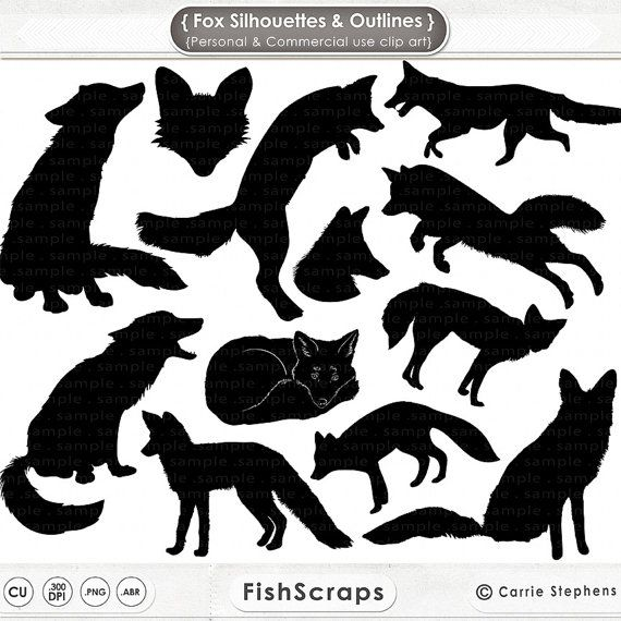 Fox Silhouettes Clip Art Fox Digital Stamps Fox Outlines Hand Embroidery Templates Photoshop Brushes Pngs Inc Fox Silhouette Animal Silhouette Art