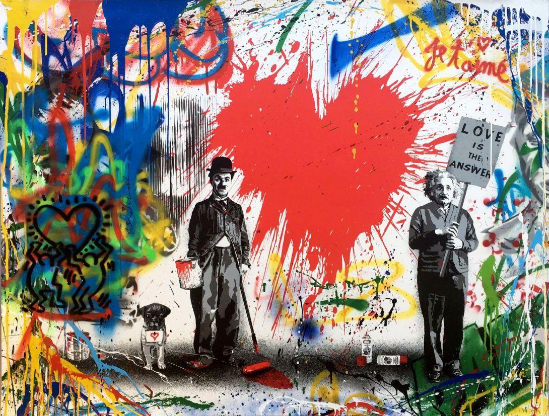 Mary Chaplin Artiste Peintre $6.35 - brainwash banksy chaplin einstein dog art silk