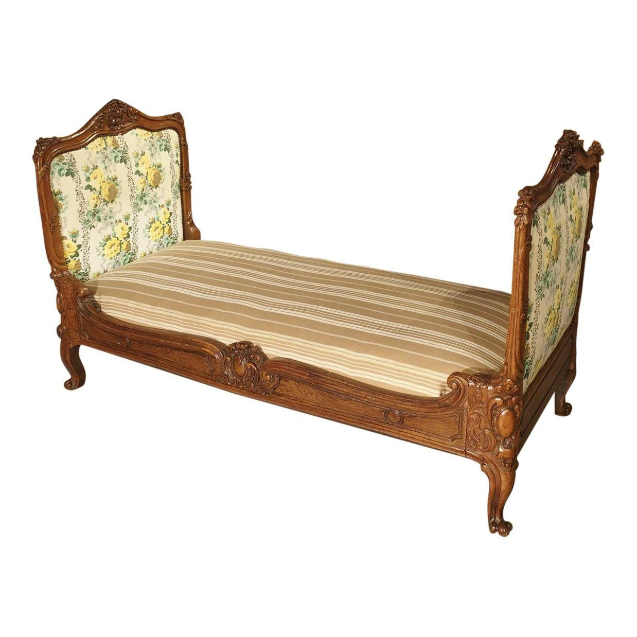 19th Century Carved Oak French Daybed Image 1 Of 11 French Daybed Upholstered Panels Furniture