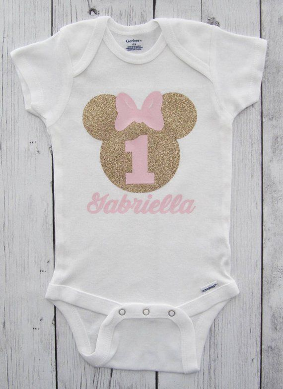 Minnie Mouse First Birthday Onesie In Pink And Gold With Minnie Mouse Onesie Baby Prints Minnie Mouse First Birthday