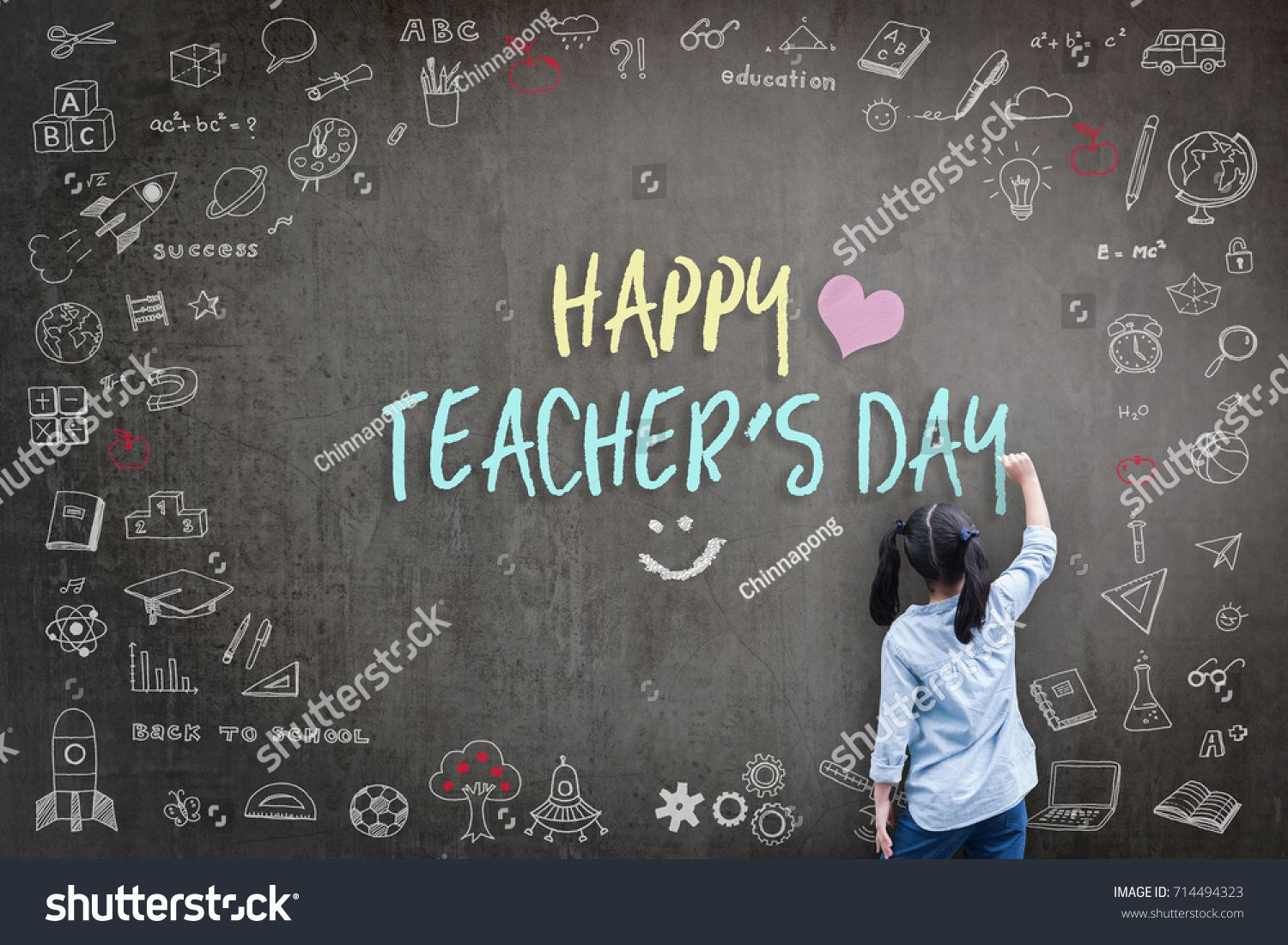 Happy Teacher S Day Greeting Card For World Teachers Day Concept With School Student Back View Drawing Doodle Of Of Learning Education Graphic Freehand Ill Thiệp