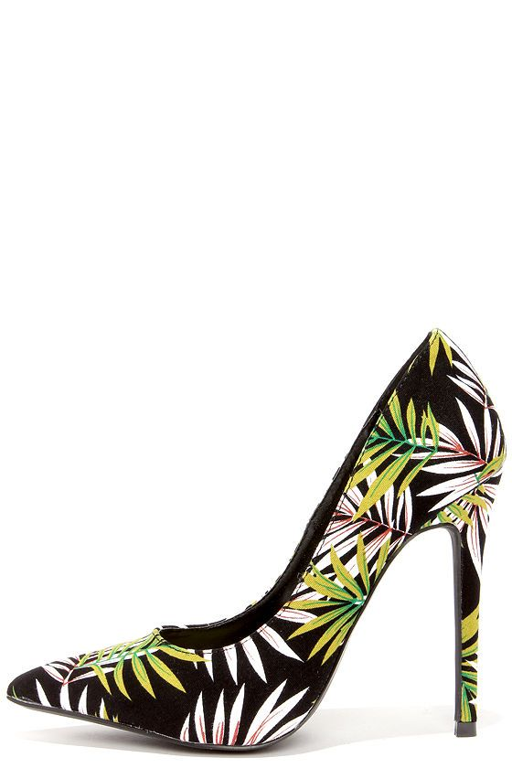 9e68bb2df429 Frond Zone Green and Black Tropical Print Pumps at Lulus.com!