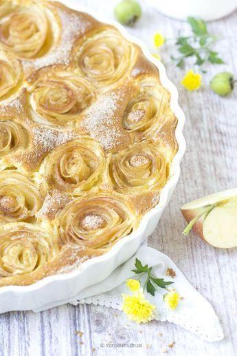 Apfelkuchen | apple cake | Apfelröschen | Apfel | Apfel-Kuchen mit Quark | © monsieurmuffin #blätterteigrosenmitapfel