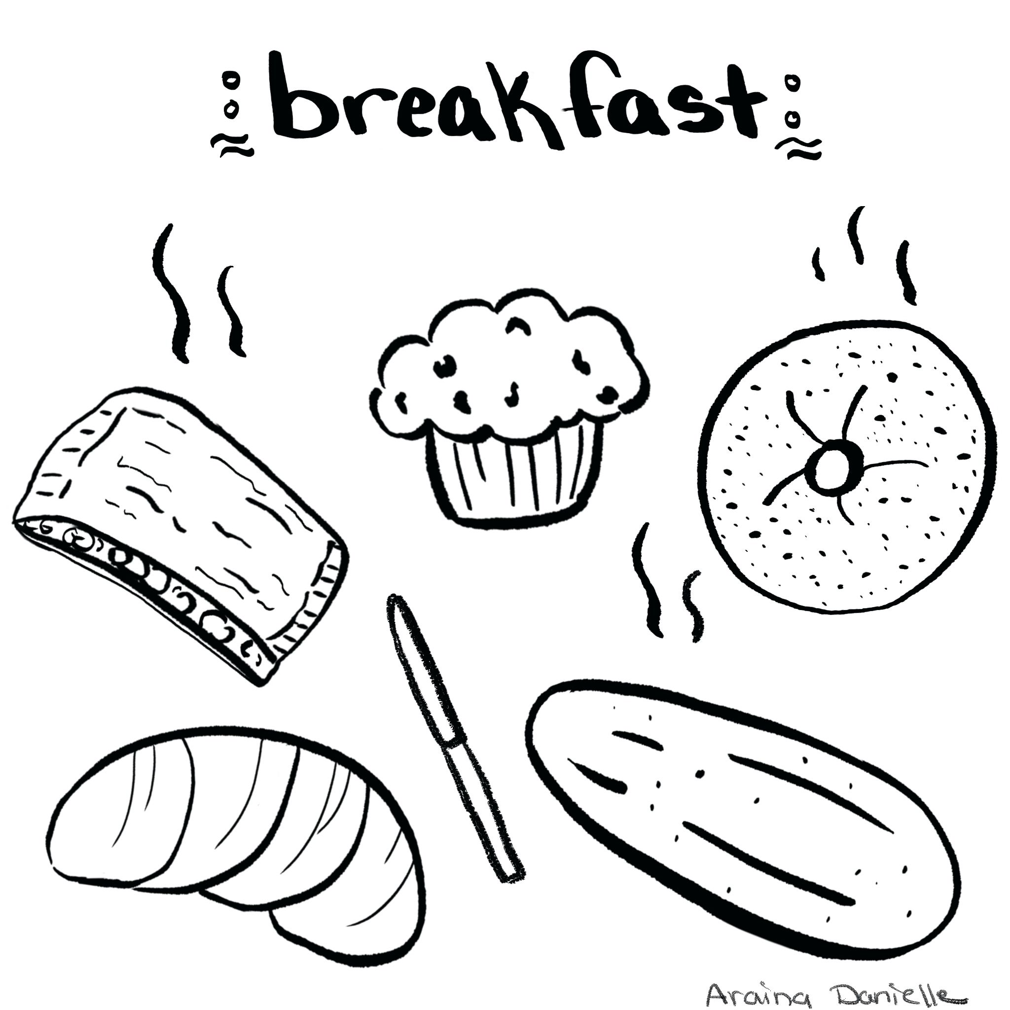 Breakfast Black And White Illustrations Bagels Croissants