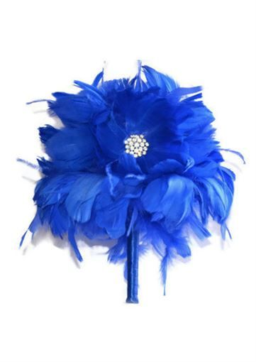 Picture of Royal Blue Wedding Bouquet with Rhinestone Brooches
