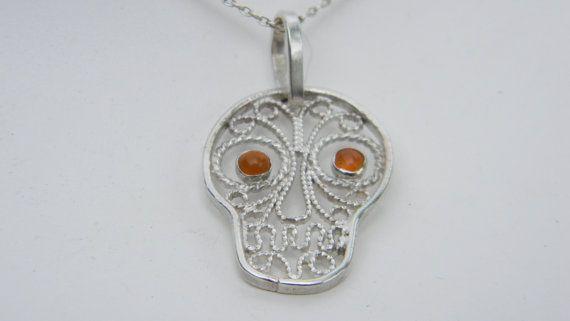 Silver Filigree Sugar Skull Pendant Sugar by selectjewelrydesigns, $40.00