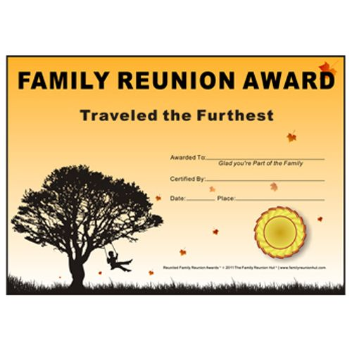 photograph relating to Free Printable Family Reunion Certificates identify Traveled the Furthest Award: Down South Topic Free of charge Relatives