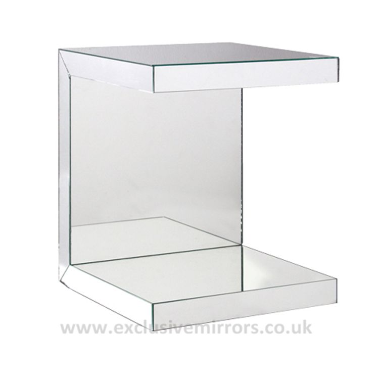 Mirrored C Shape Side Table