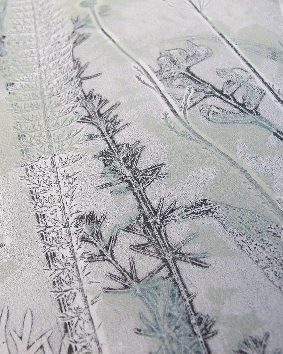Original hand printed botanical mono print. by fieldandhedgerow
