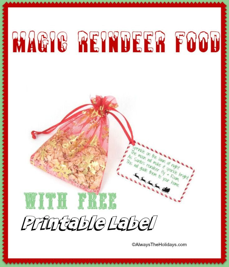 Magic Reindeer Food with FREE printable label http