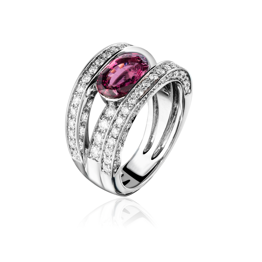 Bague saphir diamant rose