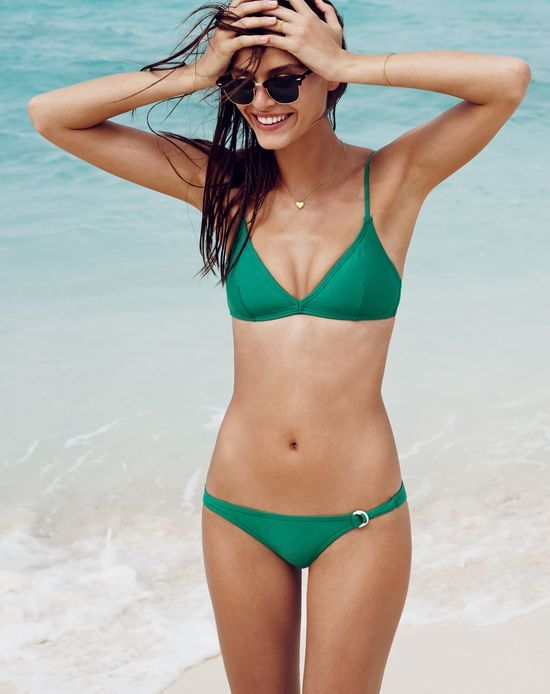 5ac81ea675 FEB '15 Style Guide: J.Crew women's french swimsuit top, d-ring swimsuit  bottom, and Ray-Ban Clubmaster sunglasses.