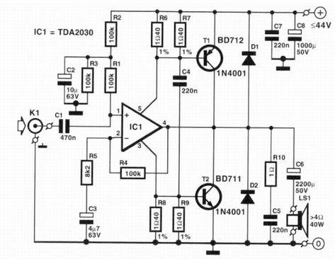 TDA2030 Audio Amplifier 1 x40W ~ AmplifierCircuits.com in