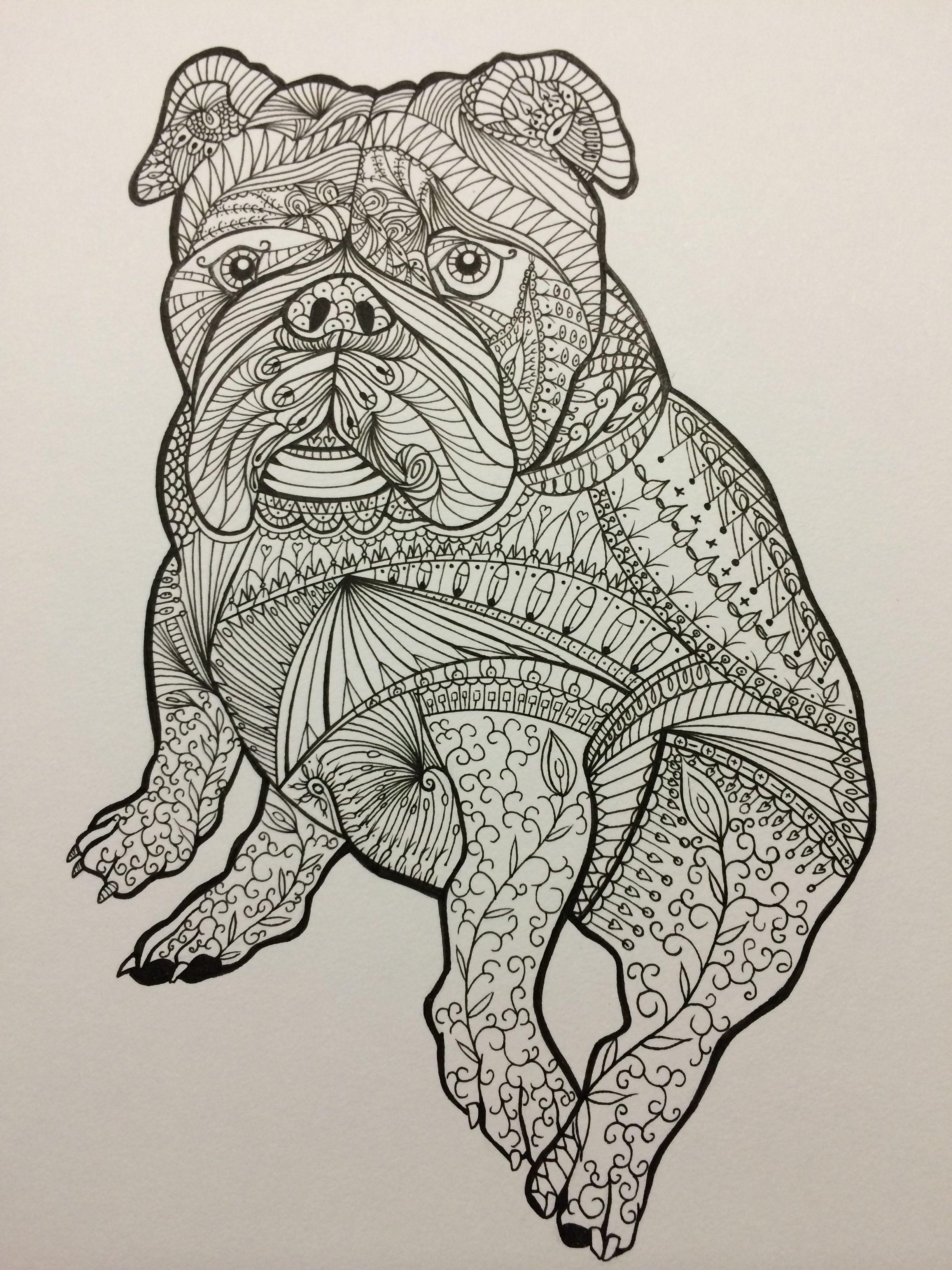 I drew this zentangle drawing of an Englishbulldog