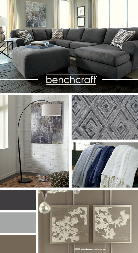 sorenton slate sectional blue and gray living room color ideas benchcraft home