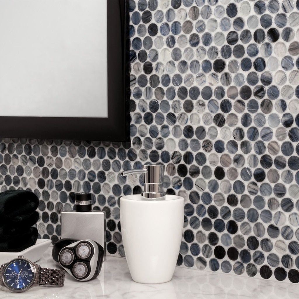 Rainstorm Rounded Glass Mosaic Tile In 2020 Metal Mosaic Tiles