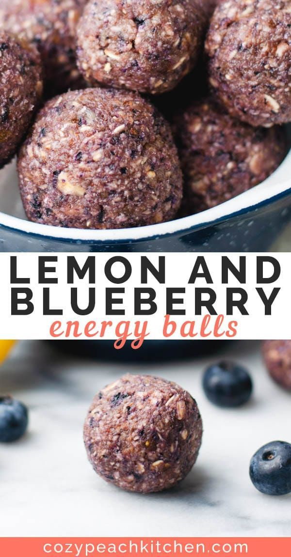 Blueberry Lemon Energy Bites These 5 ingredient no bake lemon and blueberry energy balls are packed with healthy ingredients. They're perfect as a snack or grab-and-go treat!