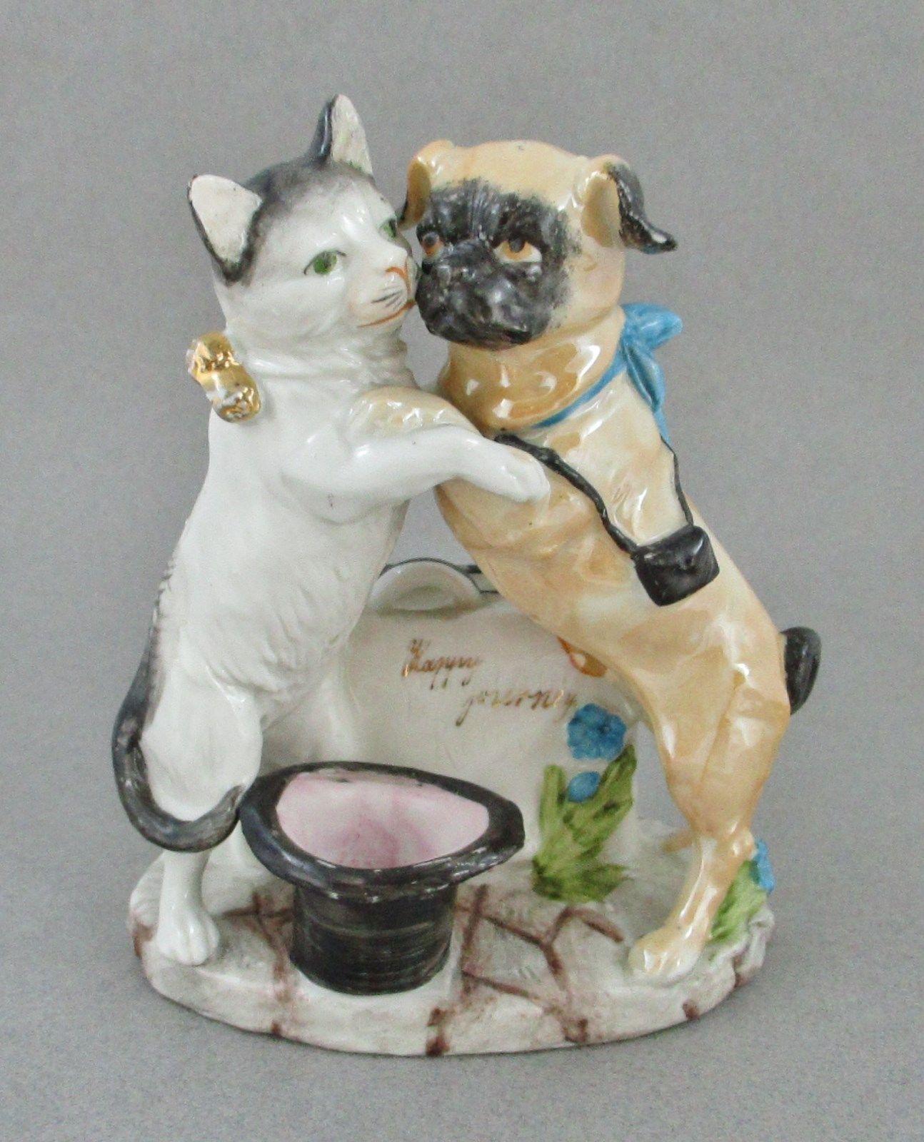 Antique Germany Bisque Porcelain Cat & Pug Dog Match or Toothpick Holder NICE | eBay