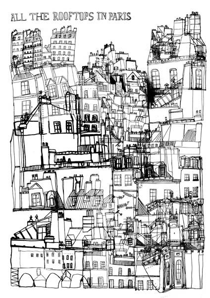Roof Tops in Paris - James Gulliver Hancock Drawing Pinterest