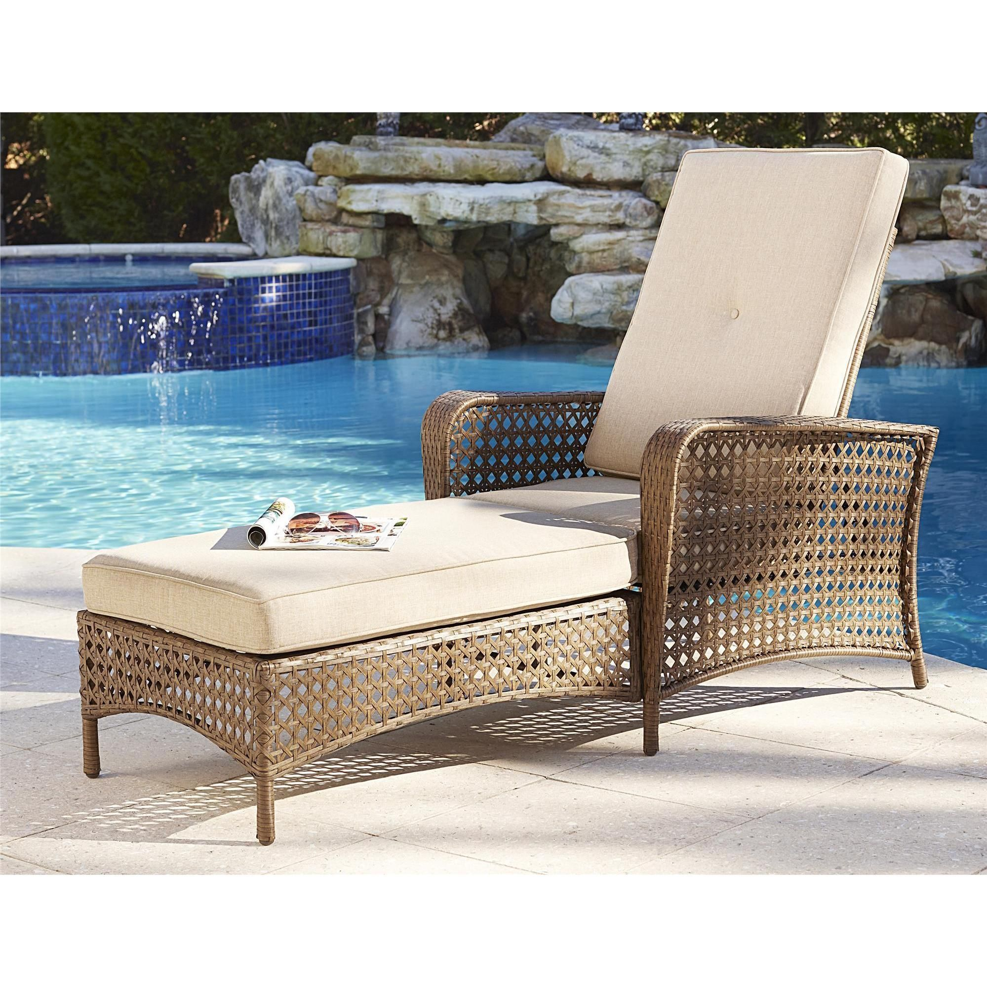 Chaise lounge is constructed with a strong steel frame for extra support and durability, wrapped in our resilient classic woven design. The removable plush seat and back cushions are covered in a woven, breathable fabric and easy to clean and maintain.