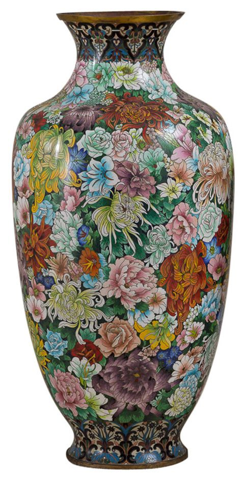 Chinese Cloisonn Vase With Mille Fleurs Decoration Circa 1930 1950