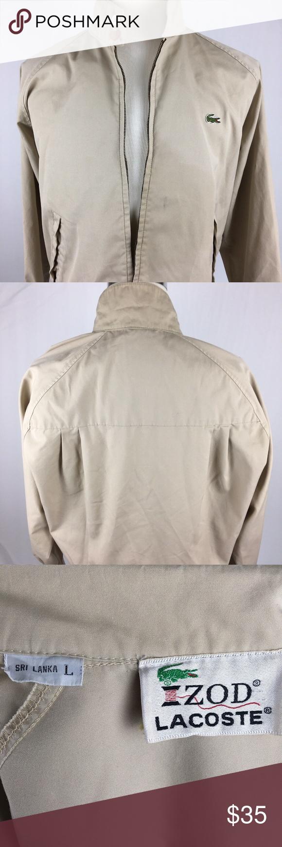 dae107941 Vintage Izod Lacoste Full Zip Jacket Large Beige Vintage Izod Lacoste Full  Zip Jacket Large Harrington