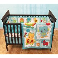 Baby S First By Nemcor 10 Piece Nursery Bedding Set Robot Friends